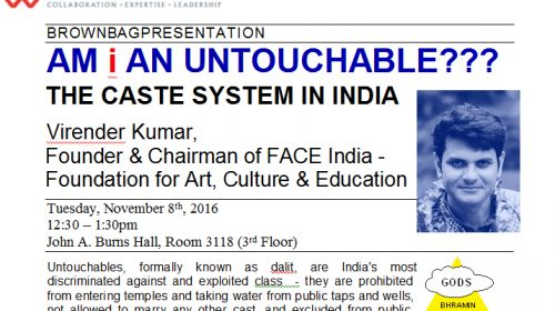 "AM I AN UNTOUCHABLE???: THE CASTE SYSTEM IN INDIA, presentation by Virender Kumar ""Viren"" in East West Center in Hawai'i USA"